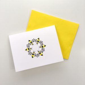 Bzzzzzz greeting card by Whole Circle Studio. Bee fabric available at www.wholecirclestudio.com