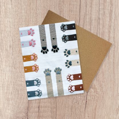 Paws Up! note card. A fun blank greeting card perfect for a birthday, thinking of you, get well soon or just because card! Photographed from the modern quilt and pattern by Sheri CIfaldi-Morrill of Whole CIrcle Studio