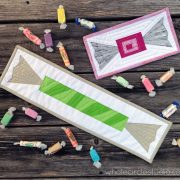 Candy quilt | Salt water taffy | quilt | quilt blocks | miniquilt| Foundation paper piecing pattern. Cute candy blocks! Block pattern available at shop.wholecirclestudio.com