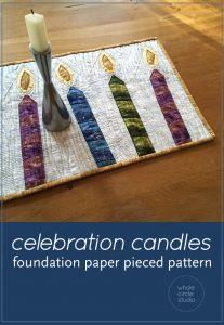 Celebration Candles is an easy, quick block to make in an afternoon. This is the perfect quilt project to make for birthday or holiday celebrations. Included in this foundation paper piecing pattern are 3 designs (one candle leaning to left, one candle leaning to right, one candle upright). This is also a great pattern to use up your scraps!