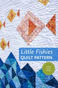 Little Fishies is an easy, half square triangle quilt pattern from wholecirclestudio.com. Make a cute baby or child quilt for a fish, ocean, or nautical themed room. This is a beginner friendly pattern! Instant download. #modernquilt #babyquilt