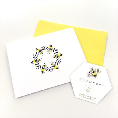 Bzzzzzz enamel pin and greeting card gift set by Whole Circle Studio. Bee fabric available at www.wholecirclestudio.com