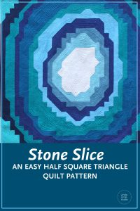 Make this easy quilt pattern as a gift for a child, rock lover, or anyone who loves geodes! Any budding geologist would love to snuggle under this quilt or hang it on their wall. Stone Slice is made from fabric strips and half square triangles (HSTs). Instructions are included to make 3 sizes: wall, throw and queen. Lots of diagrams, tips and photos are included in this PDF pattern by Whole CIrcle Studio.