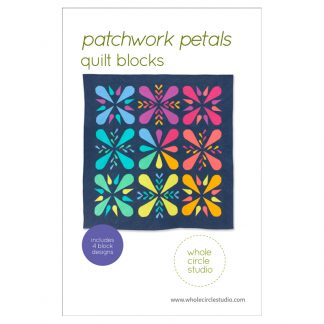 Patchwork Petals are fun, modern quilt blocks that make cute placemats or mini quilts. Make additional blocks to make a table runner, wall hanging, throw or large quilt (layout ideas included in the pattern). Mix and match blocks! Need a handmade housewarming or hostess gift? This is the perfect pattern! You'll enjoy making these fully-tested, foundation paper pieced blocks. Pattern by wholecirclestudio.com