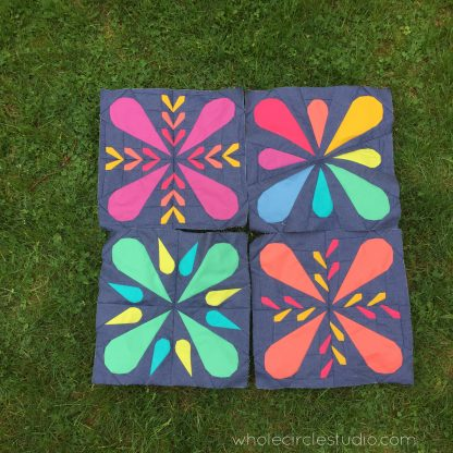 Summer is here! Let's make some modern Patchwork Petals quilt blocks. Mix and match these blocks to make pillows, placemats, table runners, wall hanging, mini quilts or larger quilts. This foundation paper piecing pattern makes great gifts. Pattern by wholecirclestudio.com