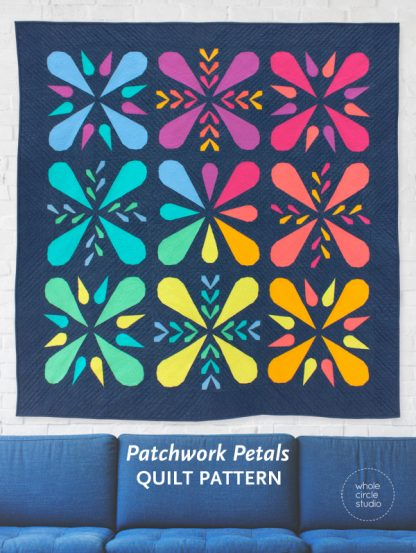 The Patchwork Petals quilt pattern is a PDF download that includes mini, wall and throw size. This modern design works well with prints or solid fabric.