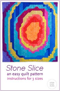Rock Solid! Make this easy quilt pattern as a gift for a child, rock lover, or anyone who loves geodes! Any budding geologist would love to snuggle under this quilt or hang it on their wall. Stone Slice is made from fabric strips and half square triangles (HSTs). Instructions are included to make 3 sizes: wall, throw and queen. Lots of diagrams, tips and photos are included in this PDF pattern by Whole CIrcle Studio.