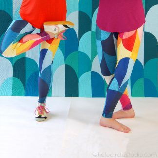 Kona Sunset leggings. Looks like a modern quilt with texture, but they're actually made of a 4-way stretch polyester/spandex blend that conforms to your body in every direction. Perfect for yoga class, a night out on the town or just making a bold statement!