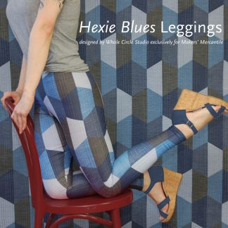Hexie Blues leggings. Looks like a modern quilt with texture, but they're actually made of a 4-way stretch polyester/spandex blend that conforms to your body in every direction. Durable, breathable and versatile, they're fabulous as leggings with denim dresses, skirts and tunics or wear them to the yoga studio. These incredible leggings are made of a 4-way stretch polyester/spandex blend that conforms to your body in every direction. It's like being naked, but better. Printed and sewn in the USA. Available in 10 sizes.