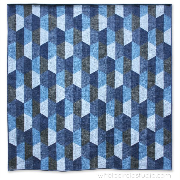 Hexie Blues is an easy, modern quilt pattern. No complicated Y-seams necessary! This super versatile pattern looks great in blues or your favorite color palette—go with a monochromatic, rainbow or even scrappy color palette. A coloring sheet is included so you can audition all types of fun combinations!