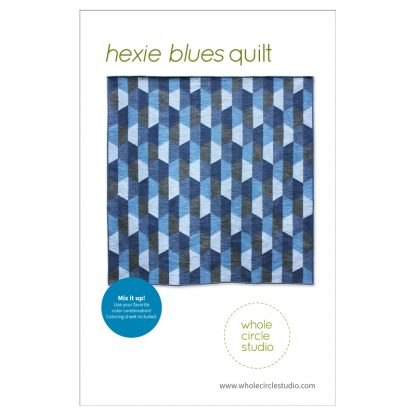 An easy and fun hexagon project! Hexie Blues is an easy, modern quilt pattern. No complicated Y-seams necessary! This super versatile pattern looks great in blues or your favorite color palette—go with a monochromatic, rainbow or even scrappy color palette. A coloring sheet is included so you can audition all types of fun combinations! Make a throw quilt (featured in pattern) or adjust the block layout to make table runners, pillows or larger quilts. You'll want to make this pattern over and over again!