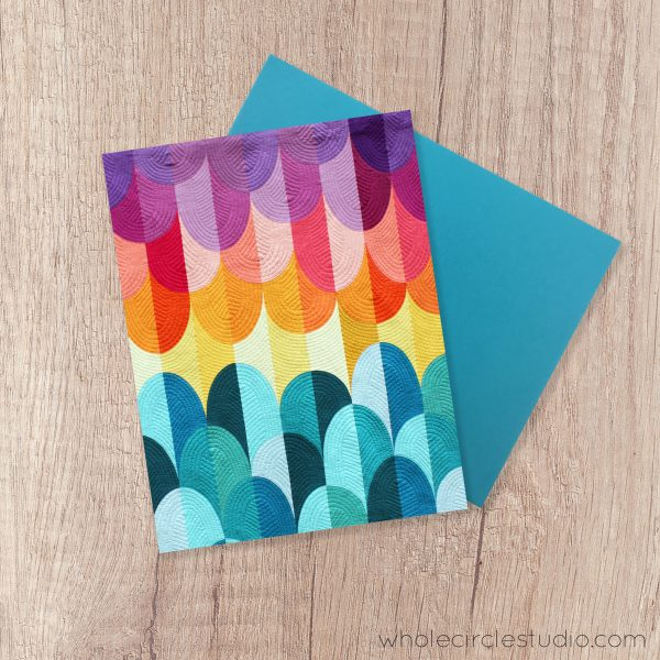 Big Island Sunset note card. A fun blank greeting card perfect for a birthday, thinking of you, get well soon or just because card! Photographed from the modern quilt and pattern by Sheri CIfaldi-Morrill of Whole CIrcle Studio