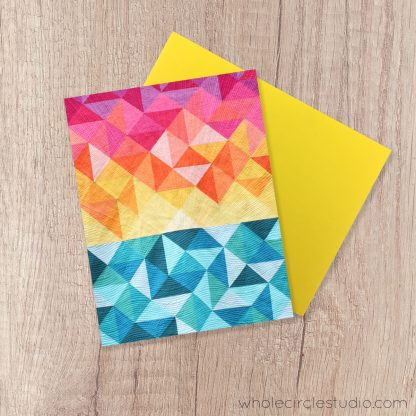 Sun Salutations note card. A fun blank greeting card perfect for a birthday, thinking of you, get well soon or just because card! Great for the beach lover or Yoga lover in your life. Photographed from the modern quilt and pattern by Sheri CIfaldi-Morrill of Whole CIrcle Studio
