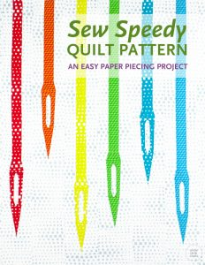 Sew Speedy is a great mini quilt to make as a wall hanging for your sewing space or gift to a sewist! This modern mini quilt pattern uses foundation paper piecing techniques. Make additional blocks to make a larger quilt (layout ideas are provided). Sew Speedy is pre-cut strip friendly! Use a pre-cut strip roll (with at least 31 strips), add 1⅓ yard fabric for the background of the quilt top and you can make this mini quilt top, back and binding!
