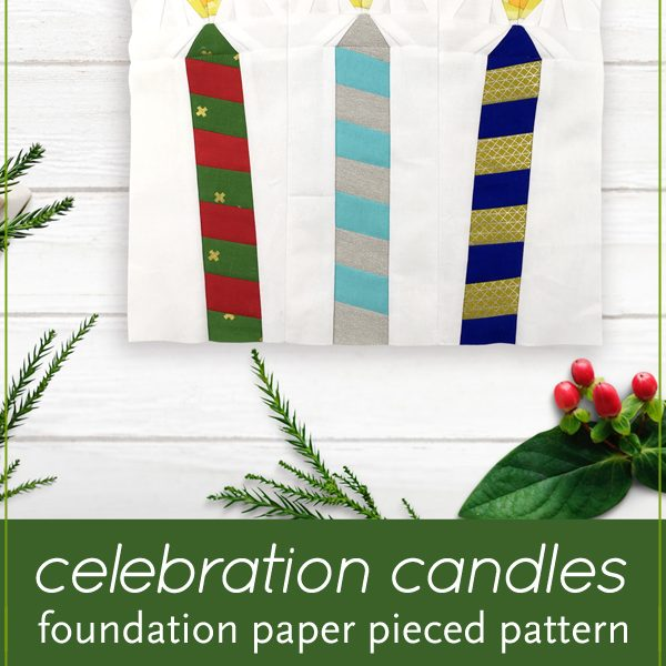 Let the festivities begin! Celebration Candles is an easy, quick block to make in an afternoon. This is the perfect quilt project to make for birthday or holiday celebrations. Included in this foundation paper piecing pattern are 3 designs (one candle leaning to left, one candle leaning to right, one candle upright). This is also a great pattern to use up your scraps! These blocks are the perfect size for a mini quilt, table quilt or pillow. Make multiple blocks to make a table runner or larger quilt. Designed by wholecirclestudio.com