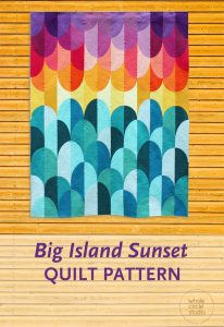 Big Island Sunset Quilt. A modern rainbow quilt pattern that uses modified traditional Drunkard's Path quilt blocks. Inspiration for Big Island Sunset came from one of my most favorite places in the world—the Big Island of Hawaii. This modern interpretation of the spectacular sunsets on the west coast of Hawaii. PDF Pattern available at www.wholecirclestudio.com