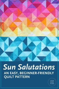 Sun Salutations is the perfect gift for the beach lover or yogi in your life. Make it as a reminder of vacations or trips to the beach. This easy, beginner-friendly pattern is a bright, modern twist on the traditional half square triangle quilt. Sun Salutations is a fully tested pattern that contains detailed instructions and diagrams, making it a breeze to piece.