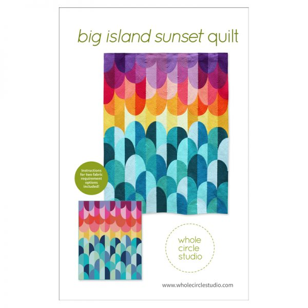 Ride off into the sunset... Kona Sunset is the perfect modern quilt for the beach lover or yogi in your life. Make it as a reminder of vacations or trips to the beach. This pattern is a bright, modern twist on the traditional Drunkard's Path block. Big Island Sunset is a fully tested pattern that contains detailed instructions and diagrams, making it a breeze to pie Use my color selection or customize the pattern to your taste. Don't want to worry about fabric selections? A fabric conversion chart is included in the pattern for: Kona® Cotton Solids by Robert Kaufman, Designer Solids by FreeSpirit, Cotton Couture Solids by Michael Miller and Painter's Palette Solids by Paintbrush Studio.