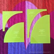"Make cutting curves for your Big Island Sunset quilt a breeze! Instead of printing, cutting and tracing your own templates from the Big Island Sunset pattern, use the Big Island Sunset Acrylic Template Set and skip right to the cutting. Acrylic templates will save you time and increase accuracy. Use a small 28mm rotary cutter and these custom ⅛"" thick acrylic templates (the same thickness as your regular acrylic ruler) to cut out all 4 shapes needed to construct your Big Island Sunset quilt. The fluorescent green glow edge makes it easier to see where you are cutting."