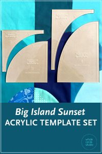 "Make cutting curves for your Big Island Sunset quilt a breeze! Instead of printing, cutting and tracing your own templates from the Big Island Sunset pattern, use the Big Island Sunset Acrylic Template Set and skip right to the cutting. Acrylic templates will save you time and increase accuracy. Use a small 28mm rotary cutter and these custom ⅛"" thick acrylic templates (the same thickness as your regular acrylic ruler) to cut out all 4 shapes needed to construct your Big Island Sunset quilt."