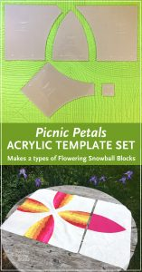"Make cutting curves for your Picnic Petals, a modern Flowering Snowball quilt a breeze! Instead of printing, cutting and tracing your own templates from the Picnic Petals pattern, use the Acrylic Template Set and skip right to the cutting. Acrylic templates will save you time and increase accuracy. Use a small 28mm rotary cutter and these custom ⅛"" thick acrylic templates (the same thickness as your regular acrylic ruler) to cut out all 5 shapes needed to construct your quilt blocks."