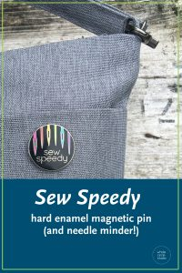 Show your loving of sewing off to the world with this enamel magnetic pin (and needle minder). When you're not using your sewing needles, let this sturdy magnetic enamel needle keeper hold them for you! Great for when you're doing handwork on the couch, in the car or on the go. Leave it next to your sewing machine to hold your used needles until you can properly dispose of them. It's also a handy tool to have when you inevitably drop your needles or pins and need something magnetic to pick them up!