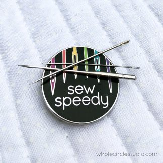 Don't lose your needles with this cute (but strong) needle minder. When you're not using your sewing needles, let this sturdy magnetic enamel needle keeper hold them for you! Great for when you're doing handwork on the couch, in the car or on the go. Leave it next to your sewing machine to hold your used needles until you can properly dispose of them. It's also a handy tool to have when you inevitably drop your needles or pins and need something magnetic to pick them up!