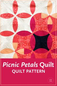 Picnic Petals is a modern quilt based on a traditional Flowering Snowball block. This tested pattern contains both detailed instructions and diagrams, making it easy to piece. Instructions are provided for three sizes: Throw, Twin and Queen.