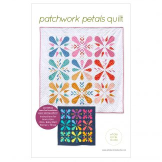 The perfect modern quilt project to make for your home, Patchwork Petals is a fun foundation paper piecing (FPP) quilt pattern. Grab your favorite fabrics—prints, solids, or a combination of both. Use what you have in your stash and make it scrappy or grab your favorite fat eighth or fat quarter fabric bundle. This fully tested PDF pattern makes a mini, baby, wall, runner, or throw quilt.