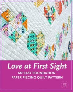 Make Love at First Sight — an easy, beginner-friendly foundation paper piecing quilt pattern and makes the perfect wedding, engagement, anniversary or friendship gift. It's also super sweet for a baby or kid. Included in the pattern are instructions for two types of heart blocks—basic and details along with fabric requirements and instructions to arrange the blocks into 3 layouts—a wall quilt or two types of throw quilts. Make it your own by swapping out fabric or rearranging the blocks.