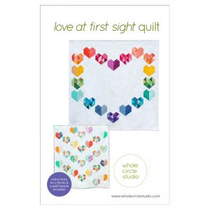 Love at First Sight is an easy, beginner-friendly foundation paper piecing quilt pattern and makes the perfect wedding, engagement, anniversary or friendship gift. It's also super sweet for a baby or kid. Included in the pattern are instructions for two types of heart blocks—basic and details along with fabric requirements and instructions to arrange the blocks into 3 layouts—a wall quilt or two types of throw quilts. Make it your own by swapping out fabric or rearranging the blocks.