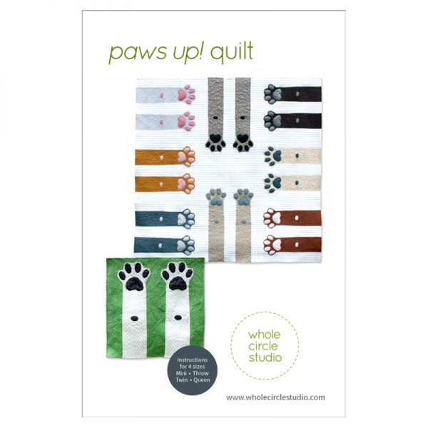 "Dog and cat lovers unite! This makes the perfect gift for anyone with a special furry pet in their life. Paws Up! is a fun, adorable quilt that uses intermediate foundation paper piecing techniques. Layout instructions are provided to make a Mini, Throw, Twin or Queen quilt. This tested pattern contains both detailed instructions and diagrams, making it easy to piece. Each Paws Up! block consists of 2 paws/legs and measures 30"" x 30"" making it a flexible design to customize your own quilting project."
