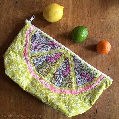 Sew and quilt Citrus Slices blocks, designed by Whole Circle Studio and make a Open Wide Zippered pouch by Noodlehead.
