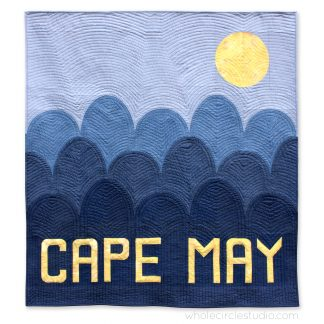Cape May, New Jersey modern quilt made with Typecast, a pattern with two paper piecing options: Foundation and English! (FPP and EPP). Pattern by Whole Circle Studio