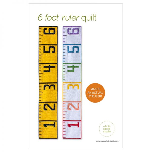 This 6' Ruler quilt is a cheeky reminder in this time of social distancing of what six feet (or 2 yards for us quilters!) looks like. Make this tape measure quilt/runner as a utilitarian decoration for display and use at your next socially distanced gathering. When not being used for a utilitarian purpose, it also makes a fun table or bed runner. Make one as a gift a tinkerer, teacher, kid, or baby as a wall hanging or growth chart.