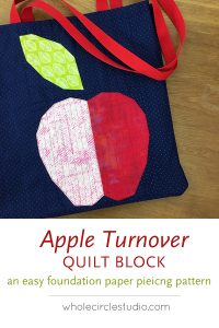 Make this fresh, modern quilt for your home! Apple Turnover s a fun, foundation paper piecing pattern. Download the PDF pattern — instructions included for four sizes: mini, table runner, wall and throw. Use your scraps from your fabric stash, your favorite fat eighths, fat quarters, and yardage!
