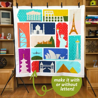 Join us for this foundation paper piecing Block of the Month (BOM) quilt project. Monthly quilt sew along with tutorials and more! This fun quilt project celebrates architecture as well as inspires us to dream about travel, exploration, and the opportunity to see new places. Register at wholecirclestudio.com