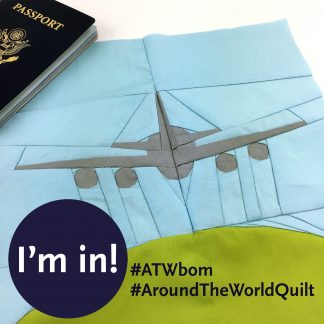 Around the World travel themed block of the month (BOM) quilt program. Make these blocks / mini quilts that celebrate architecture from around the world. Foundation paper pieced quilt sew along. Available at wholecirclestudio.com