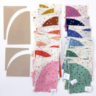 """Make cutting curves for your Drunkard's Path quilt easy! Acrylic templates will save you time and increase accuracy. Use a small 28mm rotary cutter and these custom ⅛"""" thick acrylic templates (the same thickness as your regular acrylic ruler) to cut out all 4 shapes needed to construct your Big Island Sunset quilt."""