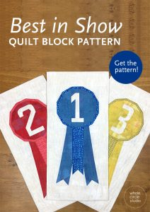 Best in Show is an easy foundation paper piecing quilt pattern for the confident beginner/intermediate quilter. This pattern is a great way to showcase your favorite print fabric— fussy cut and use those cute novelty prints! Instructions given for: mini quilt, runner, wall quilt, and throw quilt. Use what you have in your stash and make it scrappy or grab your favorite fat eighth or fat quarter fabric. Pattern by Whole Circle Studio.