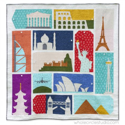 Around the World quilt — travel themed block of the month program. Make these blocks / mini quilts that celebrate architecture from around the world. Foundation paper pieced quilt sew along. Available at wholecirclestudio.com