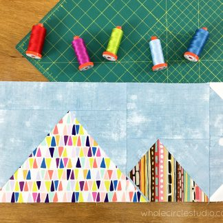 Around the World travel themed block of the month program. Make these blocks / mini quilts that celebrate architecture from around the world. Foundation paper pieced quilt sew along. Great Pyramid of Giza, Cairo Egypt . Pattern available at wholecirclestudio.com