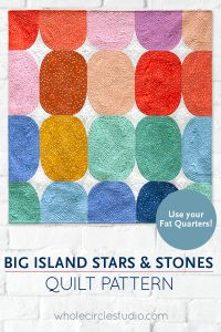 Big Island Stars & Stones is the perfect gift to make for a baby, child, or friend. This pattern is a bright, modern twist on the traditional Drunkard's Path block. This easy pattern is fully tested and contains detailed instructions and diagrams, making it a breeze to piece. Instructions are included for three sizes—Baby / Wall, Throw, and Twin. Sample shown made with Starry fabric by Alexia Marcelle Abegg for Ruby Star Society. Quilt pattern by Whole Circle Studio