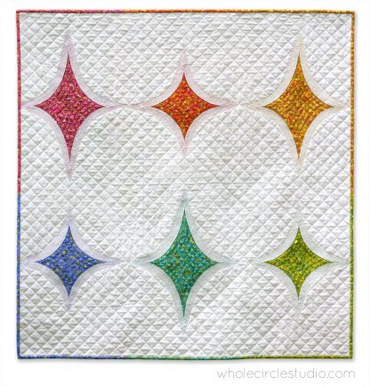 Big Island Stars & Stones is the perfect gift to make for a baby, child, or friend. This pattern is a bright, modern twist on the traditional Drunkard's Path block. This easy pattern is fully tested and contains detailed instructions and diagrams, making it a breeze to piece. Instructions are included for three sizes—Baby / Wall, Throw, and Twin. Sample shown made with Sun Print by Alison Glass for Andover Fabrics