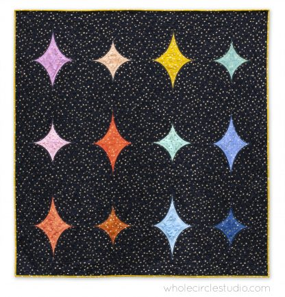 Big Island Stars & Stones is the perfect gift to make for a baby, child, or friend. This pattern is a bright, modern twist on the traditional Drunkard's Path block. This easy pattern is fully tested and contains detailed instructions and diagrams, making it a breeze to piece. Instructions are included for three sizes—Baby / Wall, Throw, and Twin. Sample shown made with Starry fabric by Alexia Marcelle Abegg for Ruby Star Society