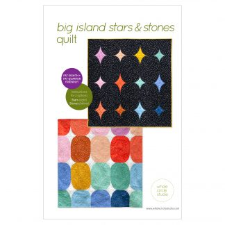 Big Island Stars & Stones is the perfect gift to make for a baby, child, or friend. This pattern is a bright, modern twist on the traditional Drunkard's Path block. This easy pattern is fully tested and contains detailed instructions and diagrams, making it a breeze to piece. Instructions are included for three sizes—Baby / Wall, Throw, and Twin.