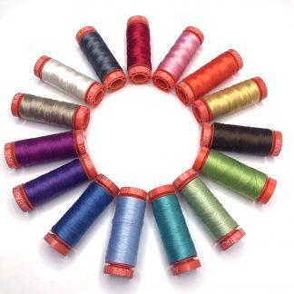 Radiant Rainbow Aurifil thread set curated by Sheri Cifaldi-Morrill of Whole Circle Studio. A beautiful rainbow collection of 50wt thread.