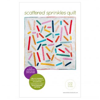 Party time! The perfect modern quilt project to make for your home, Scattered Sprinkles pairs perfectly with prints or solid fabric. Use what you have in your stash and make it scrappy or grab your favorite strip roll / jelly roll, fat eighth or fat quarter fabric bundle. Easy to foundation paper piece (FPP) and beginner friendly quilt blocks!